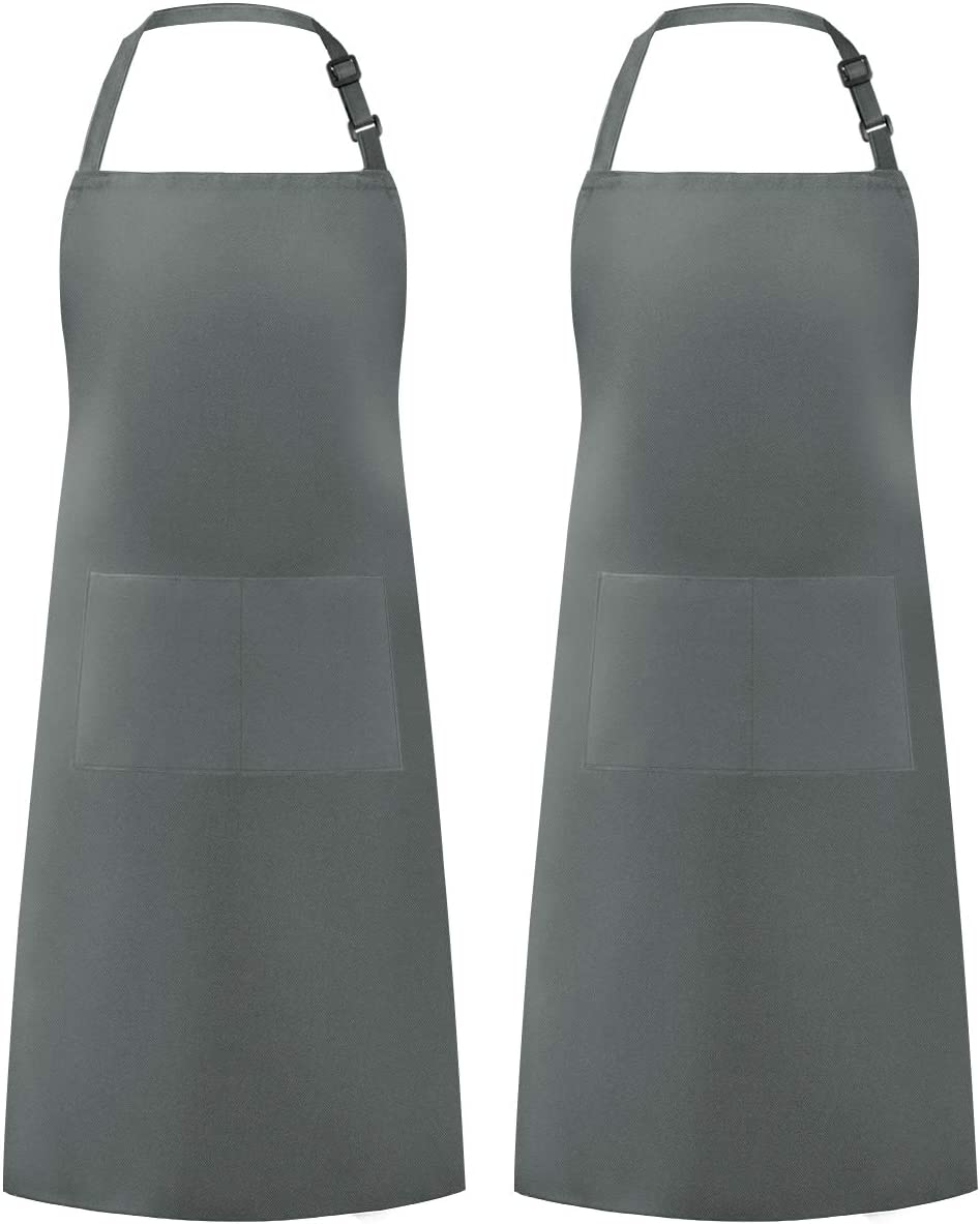 Syntus 2 Pack Adjustable Bib Apron Waterdrop Resistant with 2 Pockets Cooking Kitchen Aprons for BBQ Drawing, Women Men Chef, Grey