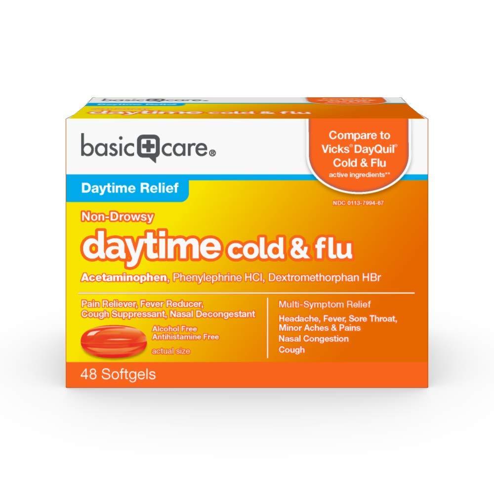 Amazon Basic Care Daytime Cold & Flu Liquid Caps; Cold Care for Daytime Cold and Flu, Orange, 48 Count (Pack of 1)