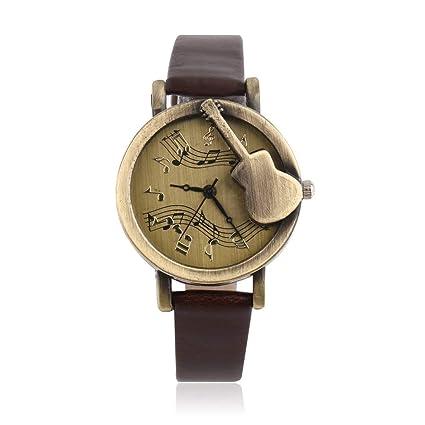 Vintage Diseño Único Patrón de Guitarra Stave Dial Notación Musical Reloj de pulsera de Cuarzo Analógico
