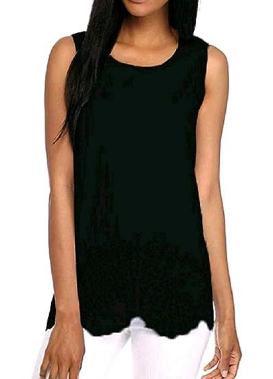 7a520d2441158 YUNY Women s Hollow Out Various Hem Stylish Sleeveless Round Neck T-Shirt  Tank Top Cami