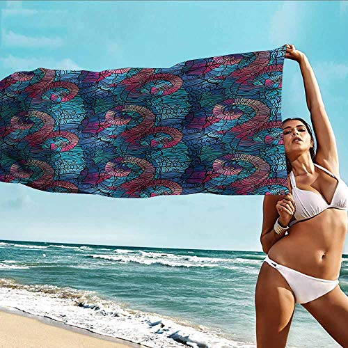 Antonia Reed Beach Towel Personalized Custom Ombre,Mosaic Shaped Shell Like Swirls Ocean Deep Sea Inspired Art Image,Light Blue and Lilac Pink,Suitable for bathrooms,Beaches,Parties 32