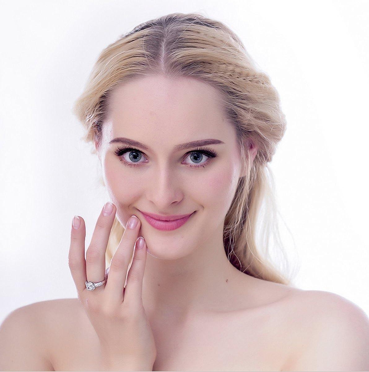 Trendy Ideas Elegant 18K White Gold Ring Luxury Diamond Wedding Engagement Rings Girls Gift for Women