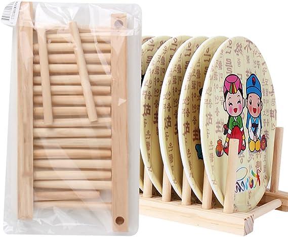 Madera escurreplatos plato escurridor placa soporte plato soporte bandeja de almacenamiento organizador de cocina de bamb/ú