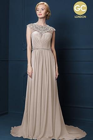 Gino Cerruti Champagner 740f Verschönert Illusion Ausschnitt Kleid ...