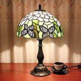 Tiffany Style Table Lamp, MKLOT Ecopower Lighting Butterfly Flower 12-Inch Wide Glass Shade 12T27R053# Retro Art Table Lamp Light with 1-Light