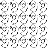 abcGoodefg G Shape Clip-Ear Headset Earpiece Mic for Motorola MD200TPR MH230R MR350R MS350R MT350R MG160A MH230TPR Talkabout 2 Two Way Radio Walkie Talkie 1-pin (20 PACK)