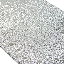 TRLYC 13 x 120 Inch Sparkly Silver Sequin Table Runner,Sequin Tablecloth Silver