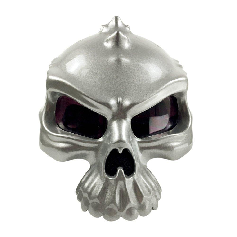Motorcycle Street Bike Scooter Open Face Helmet 3D Skull Skeleton Half Helmets Protective Gear [Matte Gloss Black White Silver] Medium Large X-Large