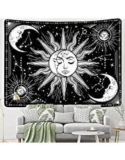 Wall Hanging Tapestry Black Sun and Moon Wall Art Hanging for Home Bedroom Living Room Dorm Décor 50*60 Inches