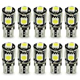 Safego T10 Canbus LED White Car Light Bulbs T10 W5w 5 SMD 5050 Super Bright 194 168 2825 Wedge LED Car Lights Source Replacement Bulbs Side Map Interior Lamps Canbus-T10-5SMD-5050W-10