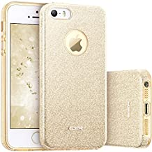 iPhone SE Case, iPhone 5S Case, ESR Makeup Series Bling Glitter Back Cover Protective Bumper Slim Fit Case for iPhone SE / 5S / 5 (Champagne Gold)