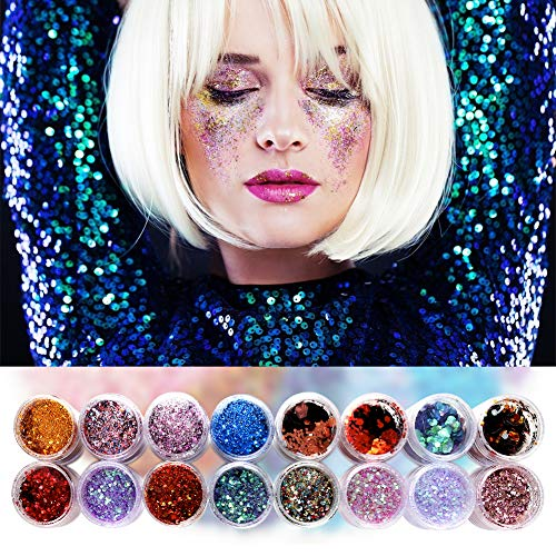 Slime Glitter Powder Sequins, 16 Packs Holographic Glitter Different Size for Eyeshadow, Nail, Art Craft Supplies