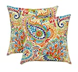 """RSH Décor Indoor Outdoor Set of Throw/Toss Pillows (17"""") ~ Bright Primary Color Thin Line Floral Paisley - Choose Quantity"""