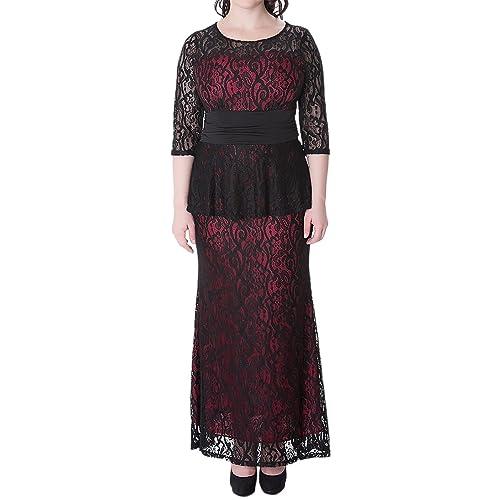 Sue&Joe Womens Maxi Dress Plus Size Lace Peplum Empire Waist Formal Evening Gown