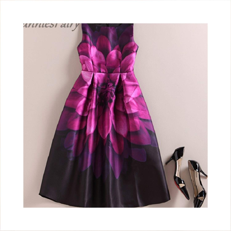 5 Women Vintage Retro Flower Floral Print Vest Dresses Sleeveless ONeck