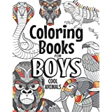 Coloring Books For Boys Cool Animals: For Boys Aged 6-12
