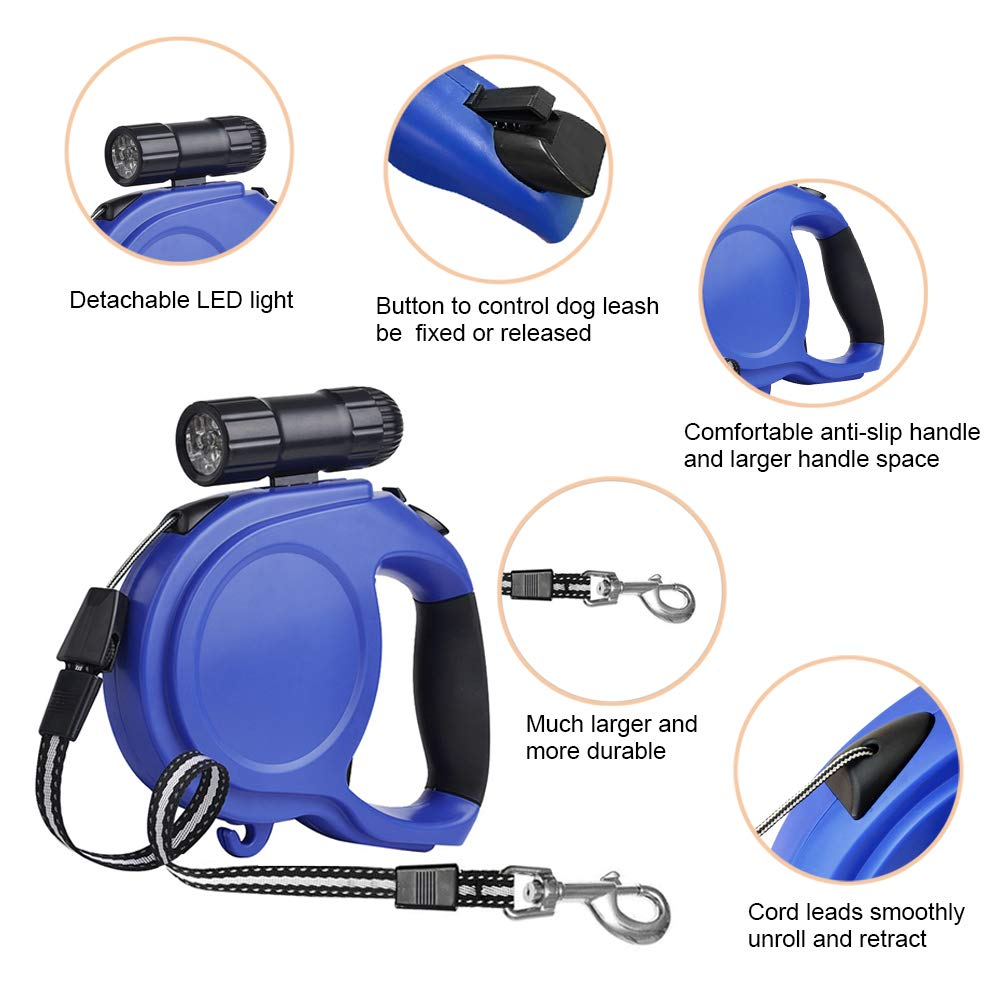 26 Feet 50KG Laxus Retractable Dog Lead Easy One Button Brake /& Lock Extendable Dog Leash with LED Flashlight for Small to Large Dogs up to 110lbs 8M