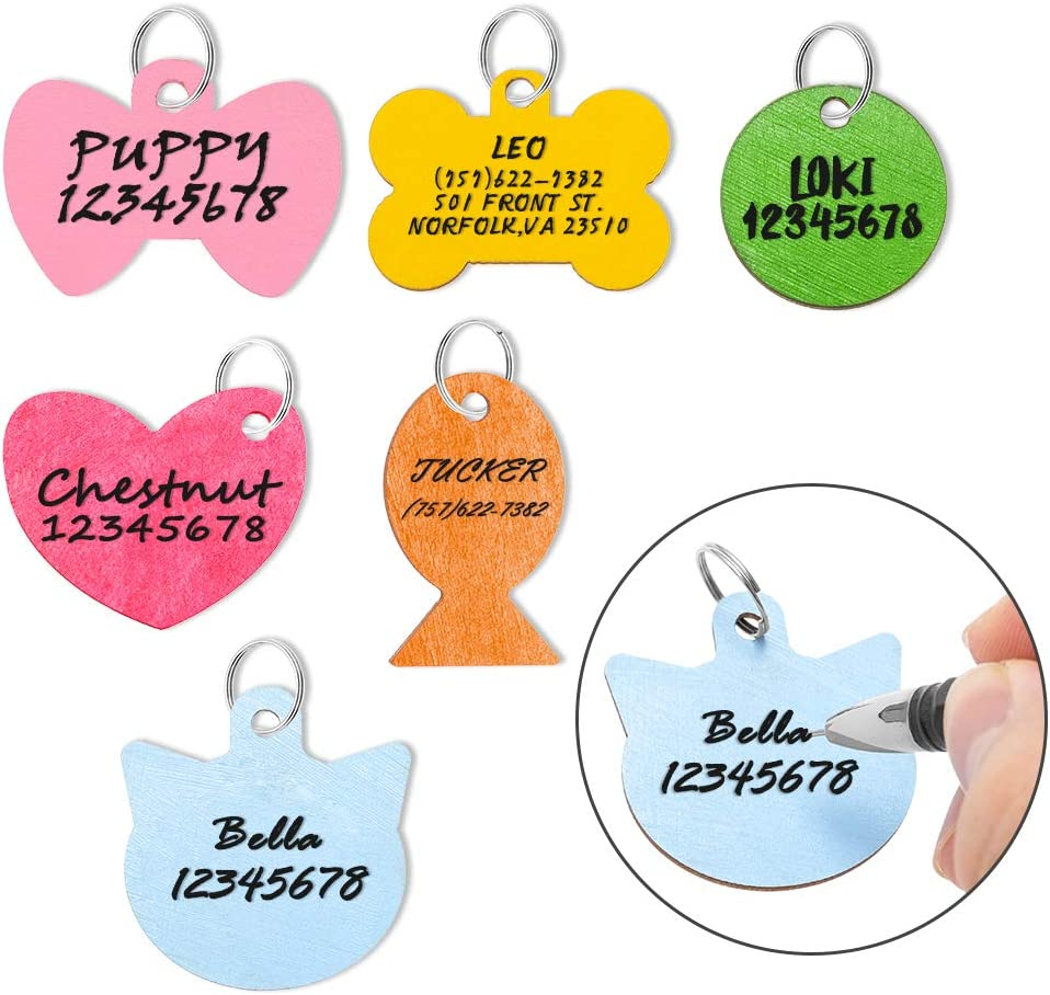 Pet ID Tag Personalized - 6 Pack Wooden Handwriting Name Tags for Dogs, Engraved Dog Cat Tags - 6 Colors and 6 Shapes for Small Medium Dogs Cats Puppy Kitten