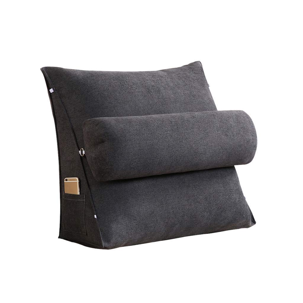 Lil Band Head Pillow Triangle Cushion, Sofa Office Bay Window Lumbar Pillow/Lumbar Support Waist/Pillow (can Be Adjusted in Three Steps) (Color : Black, Size : 60x50x20cm)