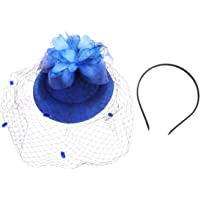 Lurrose Fascinator Sombrero Diadema Moda Flor Malla Exquisito Sombrero De Copa para Boda Cóctel Fiesta De Té (Azul)