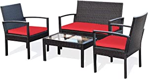 Tangkula 4 Piece Patio Conversation Set, with Glass Coffee Table, Loveseat & 2 Single Chairs, Patio Outdoor Garden Lawn Rattan Wicker Chat Set, Outdoor Furniture Set for Small Places (1, Red)