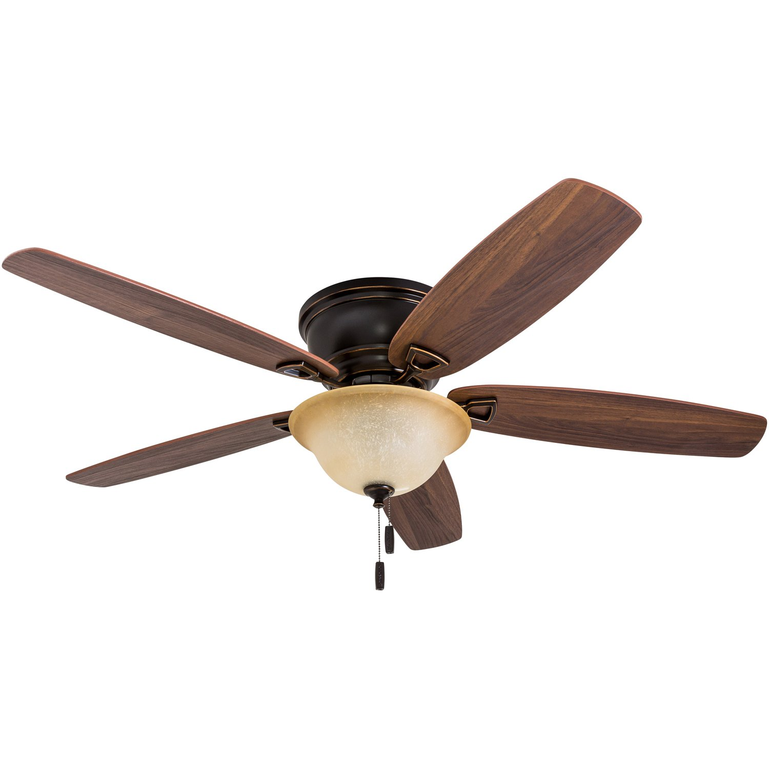 Honeywell 50517-01 Quick-2-Hang Hugger Ceiling Fan, 52'' Dimmable LED Sunset Fixture, Easy Installation Cimmeron/Ironwood Blades, Oil Rubbed Bronze