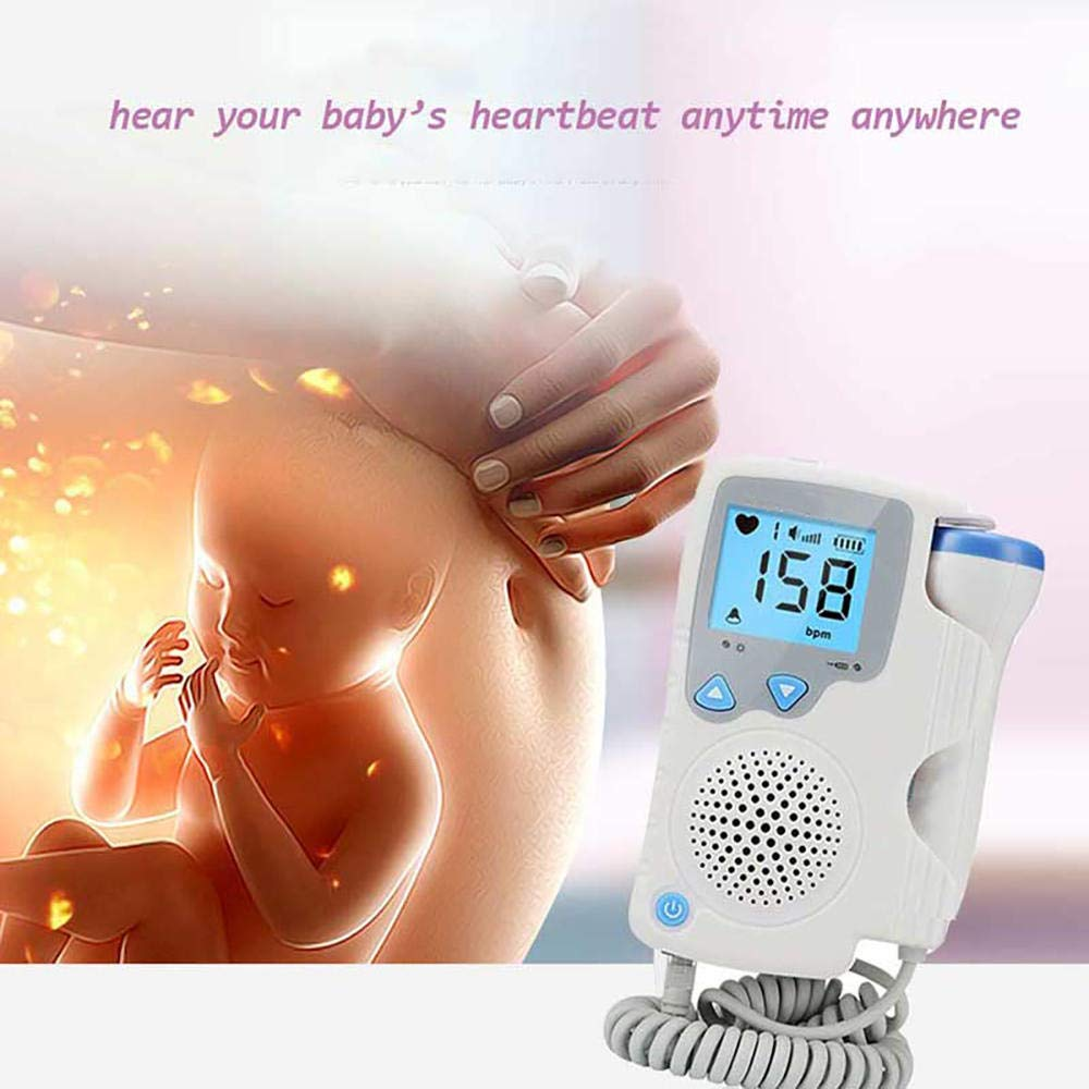 JhyccddPrenatal Fetal Doppler Baby Heartbeat Monitor Baby Heart Rate Detector Sonar Doppler 2.0MHz for Pregnant Women No Radiation Blue