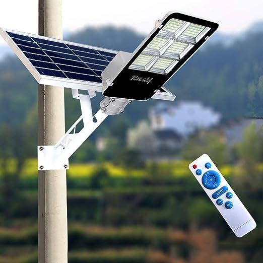 300W Farola Solar LED para Exteriores 300 Cuentas De Lámpara LED Atardecer hasta El Amanecer IP65 Impermeable Temporización Farola Solar Atenuación De 3 Niveles con Control Remoto: Amazon.es: Hogar
