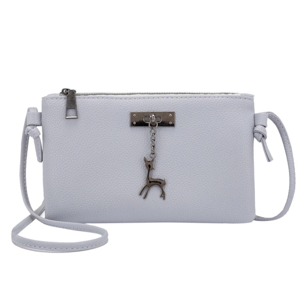 Inkach Crossbody Bags - Womens Small Deer Leather Messenger Shoulder Bag Coin Purses Handbags (Gray)
