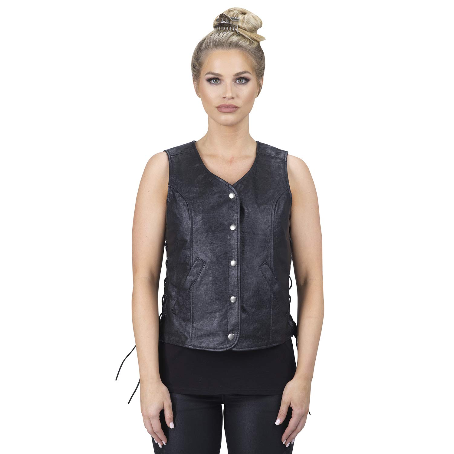 Viking Cycle Rowdy Leather Motorcycle Vest for Women (Small)