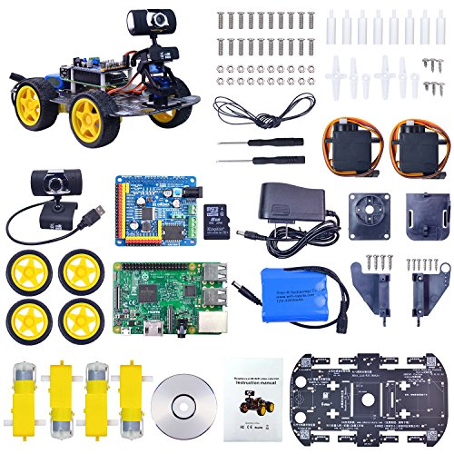 Xiao R Geek DS Wireless Wifi Robot Car Kit for Raspberry pi,Remote Control  Hd Camera 8G SD Card Robotics Smart Educational Toy controlled by iOS