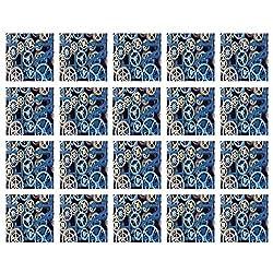 YOLIYANA Clock Decor Stylish Ceramic Tile Stickers,A Set of Clock Gears Steel Cogwheels Pattern Mechanical Theme Design for Kitchen Living Room,One Size