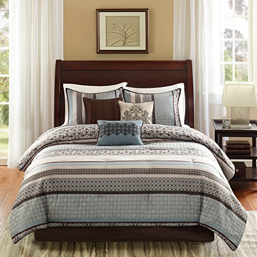 Madison Park Princeton Queen Size Bed Comforter Set Bed in A Bag - Teal, Jacquard Patterned Striped – 7 Pieces Bedding Sets – Ultra Soft Microfiber Bedroom Comforters