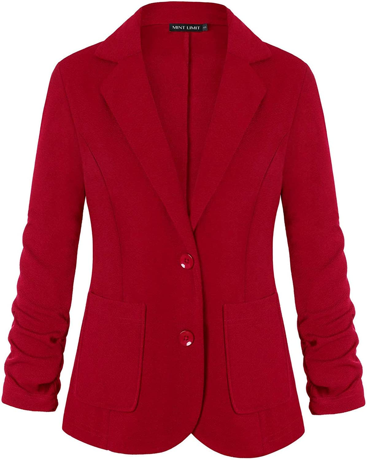 Women's Blazers Ruched 3/4 Sleeve Button Notched Lapel Work Office Blazer Jacket Suit Pockets