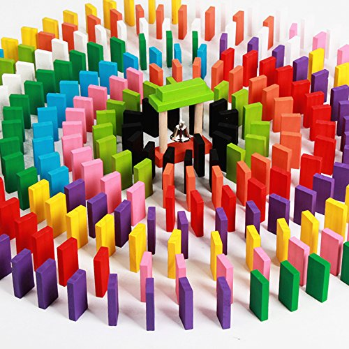 OWIKAR 120pcs Wooden Dominoes Blocks Set Kids Game Educational Play Toy Domino Racing Toy Game 12 Colors Educational Toys for Children