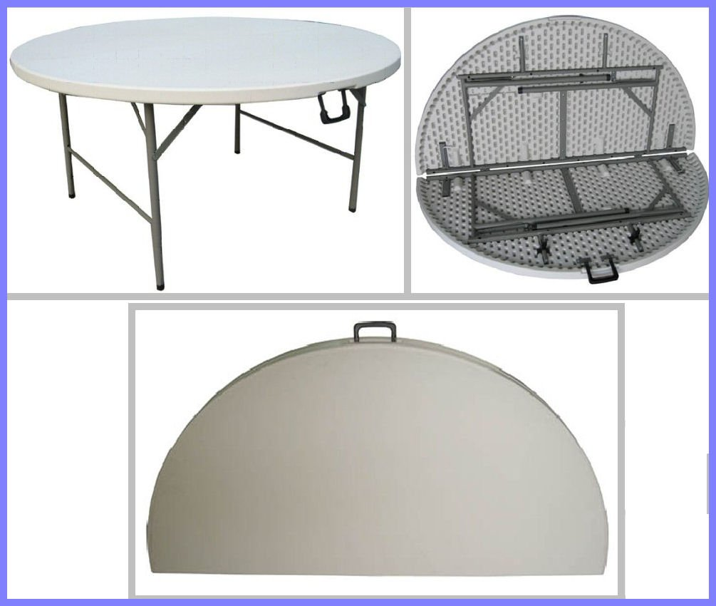 FT 1 5FT Round Folding Table Fold in Half A substantial round