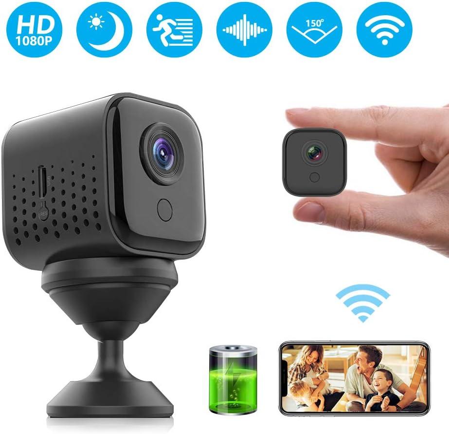 Camara Espia, Mini Camaras Espias 1080P Camara Vigilancia Encubierta de Seguridad WiFi Camara Espia Oculta Puede Durar 300 Minutos con Visión Nocturna, Detección de Movimiento, Vista Remota