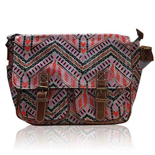 Bag Ladies Cross BLACK Body Oilcloth GREY Animal Satchel Messenger Bag Stripe Azetc Fox Print AZTEC STRIPE zzgrq0aw
