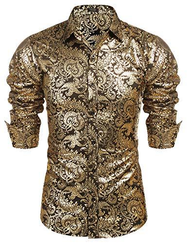 (COOFANDY Men's Luxury Design Shirts Floral Dress Shirt Casual Button Down)