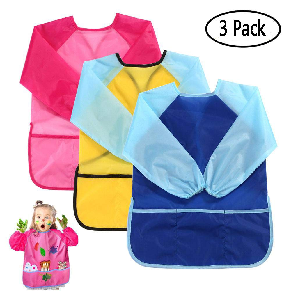Finger Paint Smock, Aolvo 3 Packs Kids Artist Overall Waterproof Painting Aprons Toddle Eating Bibs Long Sleeve with 3 Pockets for 5-7 Years Old