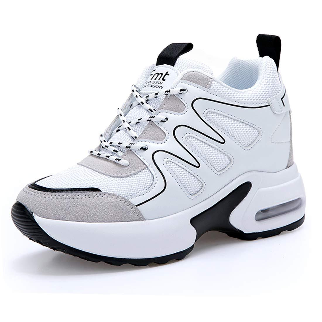 05-white TQgold Women's Platform Sneakers Wedges High Top Lace Up shoes Increase Fashion Sneakers for Women Girls