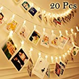 Photo Clips String Lights 20 LED Warm White - Battery Powered Hanging Photo String Display String for Picture, Cards, Artwork, Home Decor Display