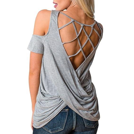 OverDose Mujer Camiseta manga corta verano corta tiras verano las blusas (S, Gris)