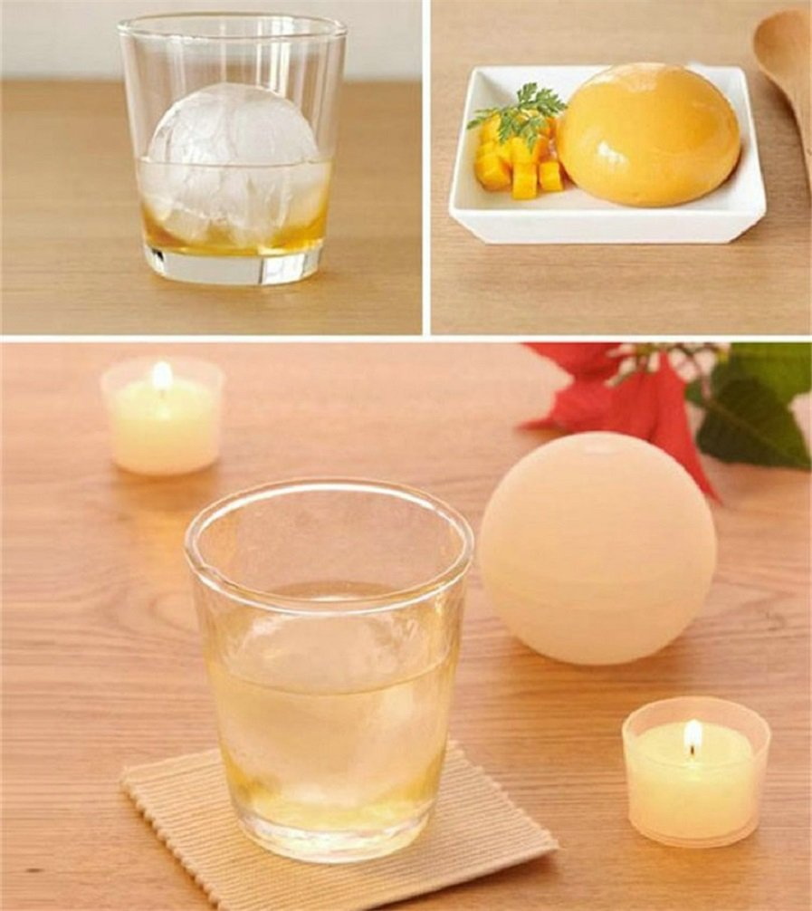 2 Pack Frozen Ice Ball Maker for Cool Drinks and Baking Food-Grade Silicone Round Ice Cube DIY Mould Pudding Jelly Chocolate Mold Tray Sphere