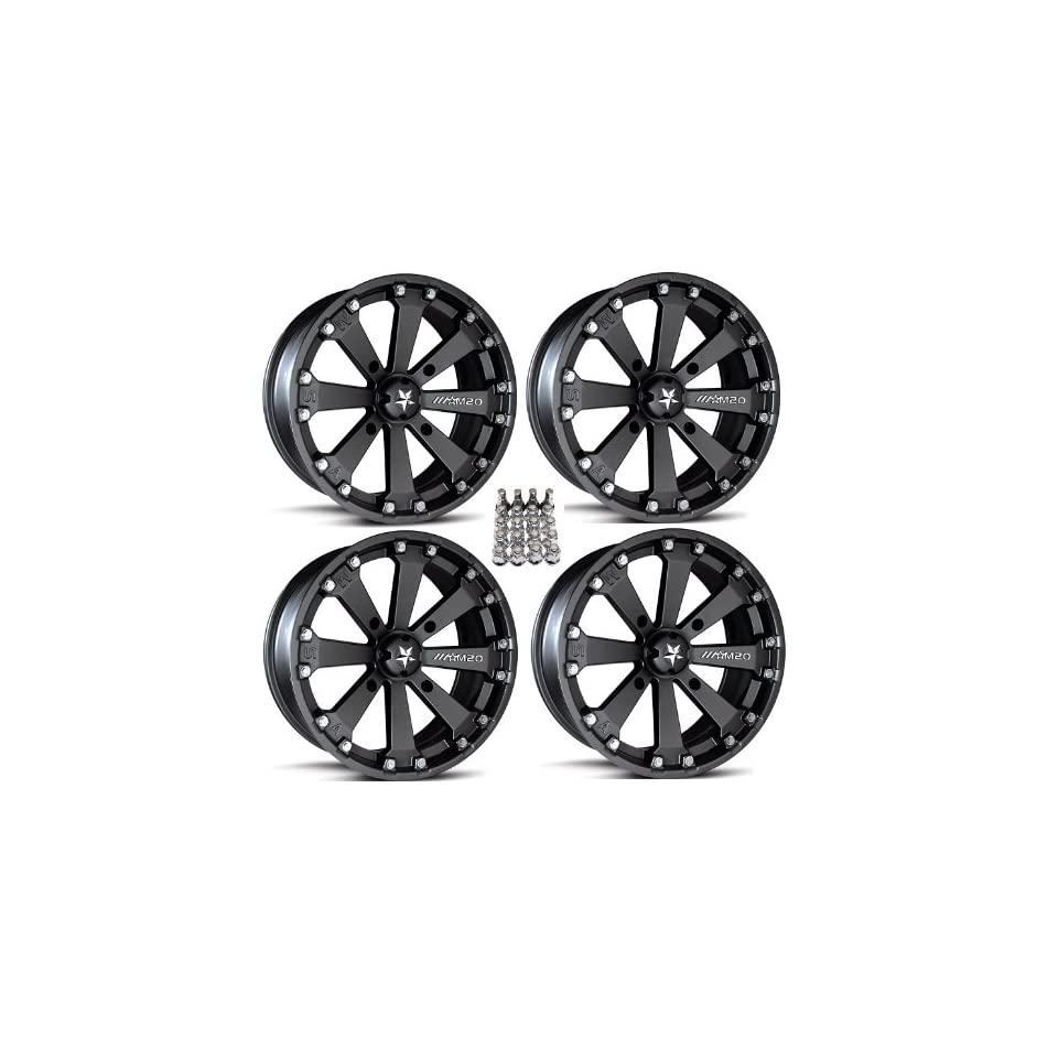 MSA M20 Kore ATV Wheels/Rims Black 14 Polaris Sportsman RZR Ranger (4)