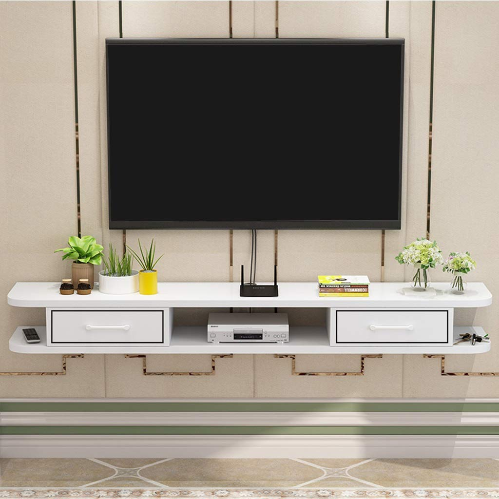 Modern Living Room Floating TV Cabinet Wall-Mounted TV Rack Floating TV Stand Set Top Box Cable Storage Box DVD Player Shelves (Color : White, Size : 120cm) by GDF-FLOATING SHELVES