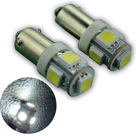 Ruiandsion - 4 bombillas LED BAY9S DC 6 V 100 LM Blanco 5050 5SMD LED luces