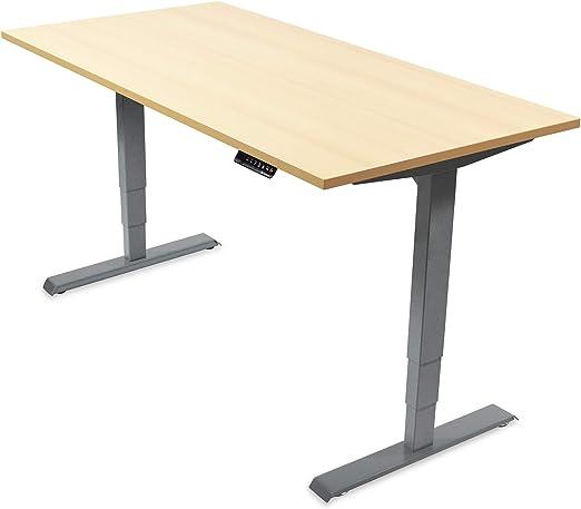 Ergotopia® Elektrisch höhenverstellbarer Schreibtisch | 5 Jahre Garantie | Ergonomischer Steh Sitz Tisch mit Memory Funktion | Beugt Rückenschmerzen