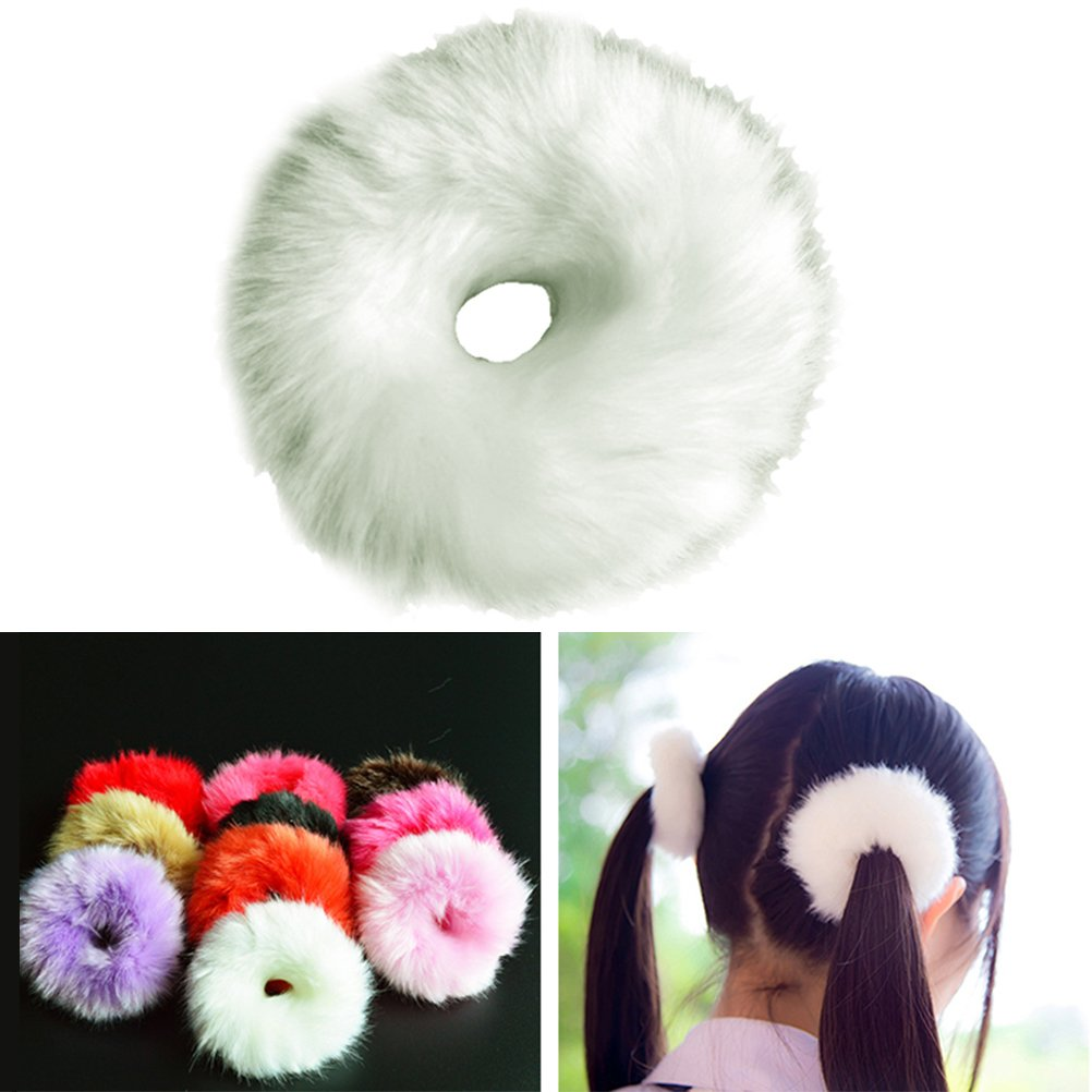 Frcolor Fuzzy Hair Ties, Faux Fur Rubber Elastic Ring Rope Hair Tie Scrunchie for Women Girls, 10 Pcs