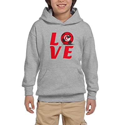 2018 Love Tunisia Football Youth Pullover Hoodies Athletic Pockets Sweaters